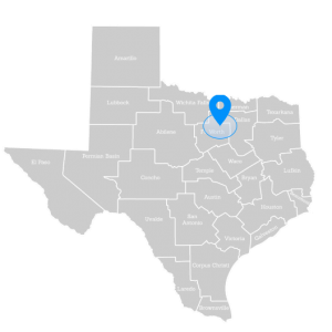 Map of Texas and pointing to Fort Worth